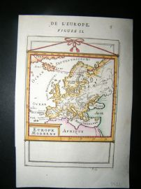 Mallet 1686 Antique Hand Col Map. Europe Moderne